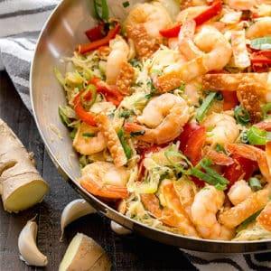 Braised Cabbage & Shrimp Stir Fry with mixed Veggies
