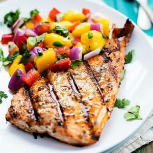 Caribbean Grilled Salmon with Pineapple Pico