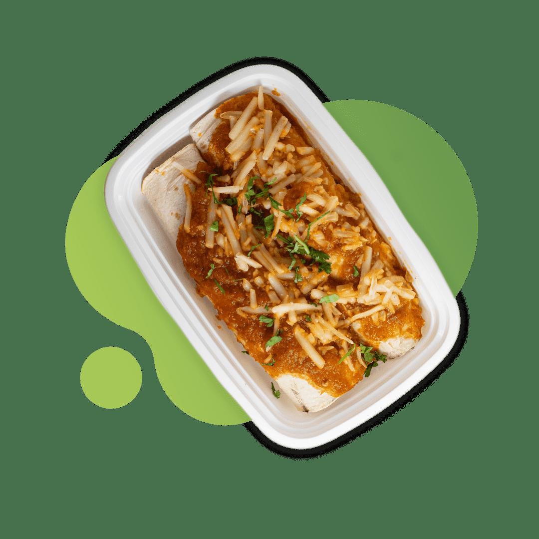 Vegan Jackfruit Enchiladas with Spinach Rice & Black Beans