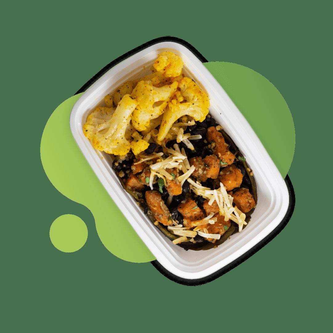 Vegan Stuffed Poblano with Quinoa & Cauliflower